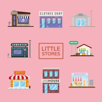 Groupe de petites façades de magasins conception d'illustration vectorielle