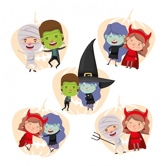 Groupe de petits enfants avec personnages de costumes