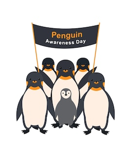 Groupe de pingouins avec une affiche journée de sensibilisation aux pingouins.