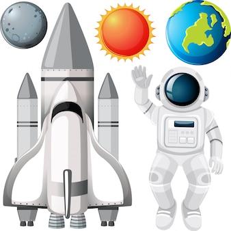 Groupe de planètes et d'objets spatiaux