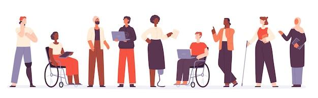 Groupe plat et diversifié d'hommes d'affaires et d'employés de bureau. inclusion de travail d'équipe avec le concept vectoriel de personnages handicapés musulmans, noirs et actifs. employés multinationaux travaillant avec des gadgets