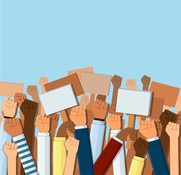 Groupe de poings de manifestants levés en l'air