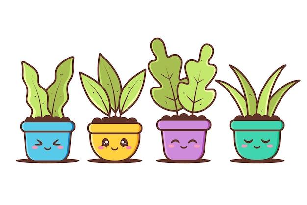 Groupe de pot mignon de plante avec diverses expressions différentes