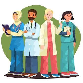 Groupe de professionnels de la santé de dessin animé