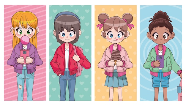 Groupe de quatre belles filles adolescentes interracial illustration de personnages anime