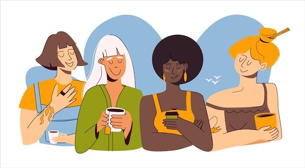Un groupe de quatre copines différentes discutant autour de boissons thé café chocolat chaud