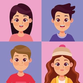 Groupe de quatre enfants