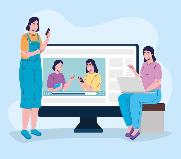 Groupe de quatre filles connectant la conception d'illustration de l'éducation en ligne