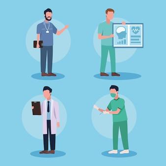 Groupe de quatre médecins de sexe masculin