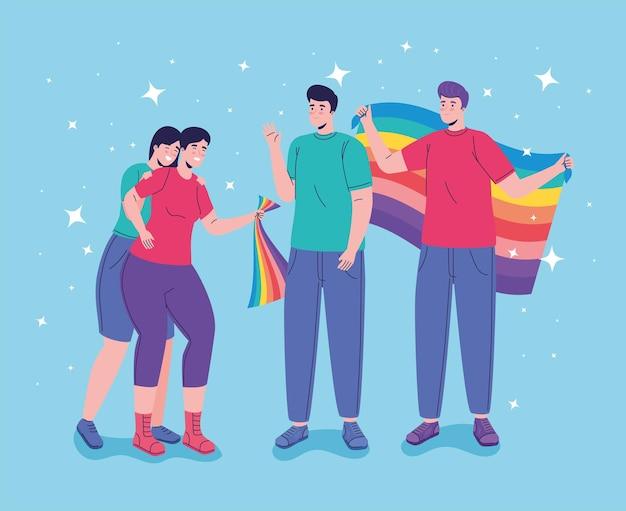 Groupe de quatre personnes avec des caractères de drapeaux lgtbi