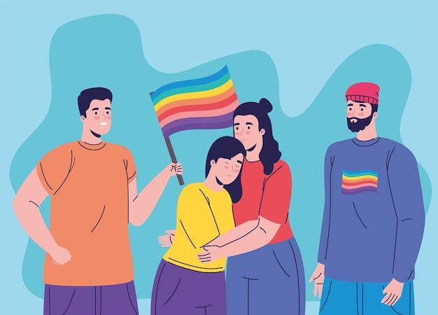 Groupe de quatre personnes avec drapeau lgtbi