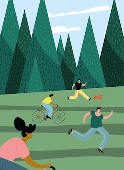 Groupe de quatre personnes pratiquant des activités dans la conception d'illustration du parc