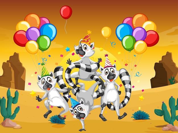 Groupe de ratons laveurs en personnage de dessin animé de thème de fête sur le désert