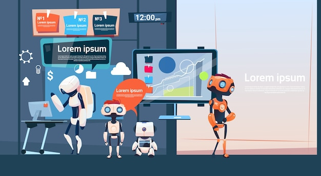 Groupe de robots de bureau moderne de travail