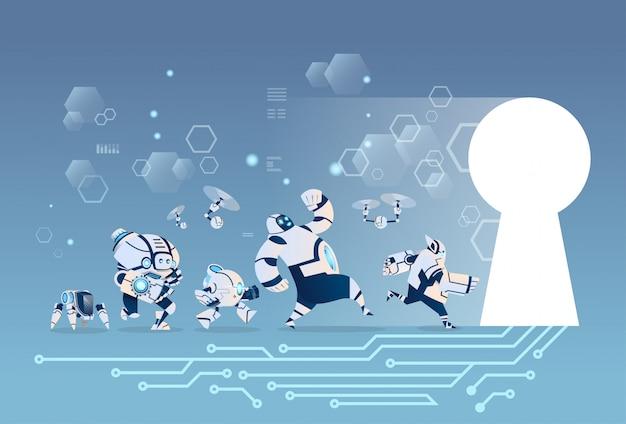 Groupe de robots modernes en cours d'exécution