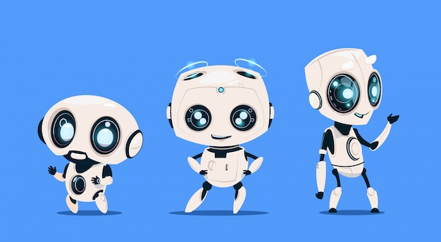 Groupe de robots modernes isolés sur fond bleu intelligence artificielle de personnage de dessin animé mignon