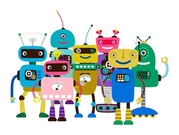 Groupe de robots de personnages de dessins animés