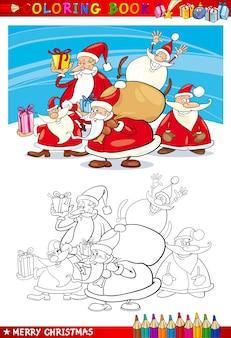 Groupe de santa claus de dessin animé pour la coloration