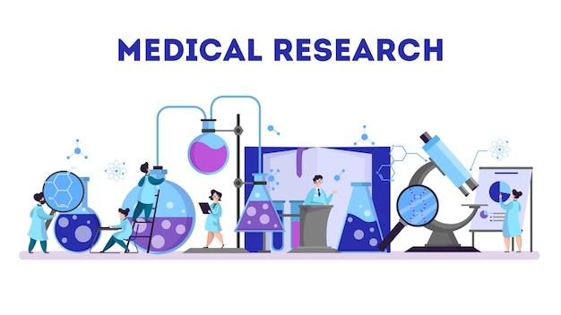 Groupe de scientifiques faisant de la recherche médicale. laboratoire