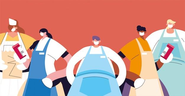 Groupe de serveurs avec masque facial et uniforme