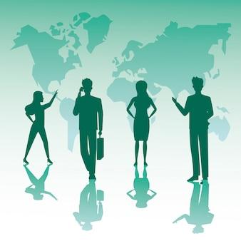 Groupe de silhouettes de travail d'équipe de gens d'affaires et cartes de la planète terre