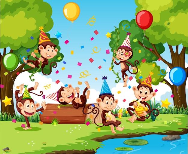 Groupe de singes en personnage de dessin animé de thème de fête en forêt