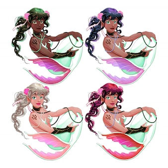 Groupe de sirènes avec différentes couleurs de peau et de cheveux
