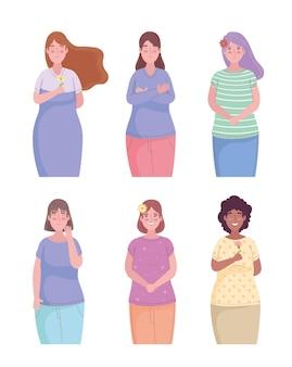 Groupe de six filles amis avatars illustration de caractères