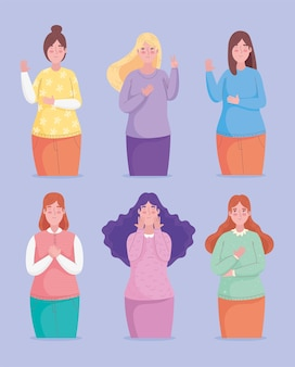 Groupe de six personnages avatars filles illustration