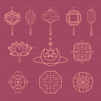 Groupe de symboles d'ornements de culture chinoise