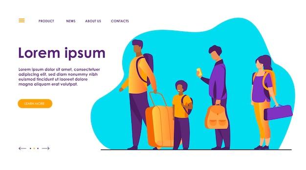 Groupe de touristes avec des bagages debout en ligne.