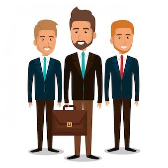 Groupe de travail d'équipe d'hommes d'affaires avec illustration de portefeuille
