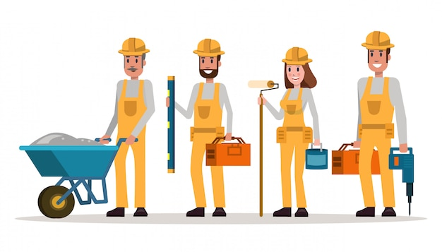 Groupe de travailleurs de la construction en casques