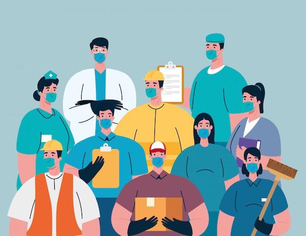 Un groupe de travailleurs utilise des masques médicaux pour la pandémie de covid 19