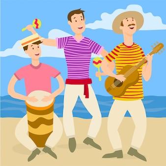 Groupe tropical jouant sur la plage