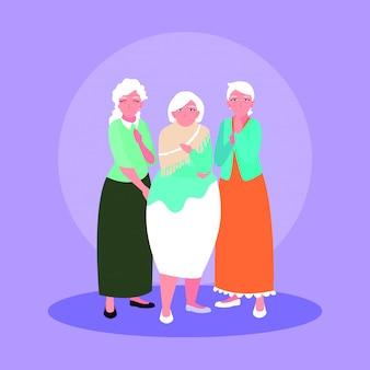 Groupe de vieilles femmes personnage avatar