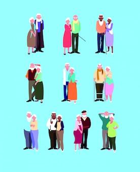 Groupe de vieux couples personnage avatar
