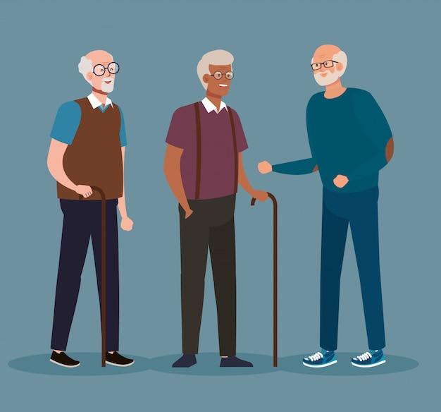 Groupe de vieux hommes mignons, hommes âgés souriant conception d'illustration vectorielle