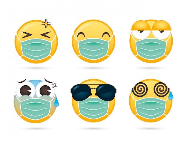 Groupe de visages emojis à l'aide de masques médicaux personnages drôles