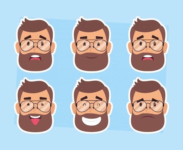 Groupe de visages d'homme avec barbe et lunettes vector illustration design