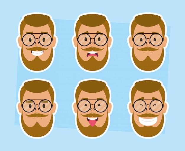 Groupe de visages d'homme avec barbe et lunettes