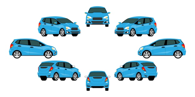 Groupe de voitures bleues