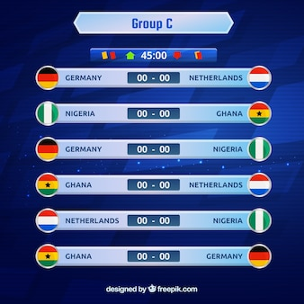 Groupes de championnat du monde de football avec différents drapeaux