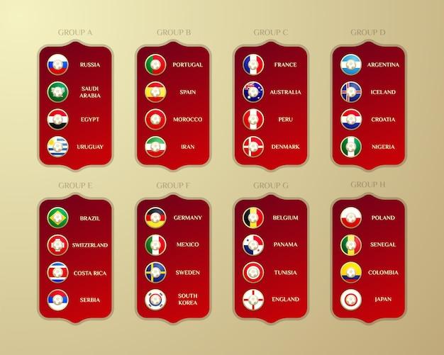 Groupes de championnat de football.
