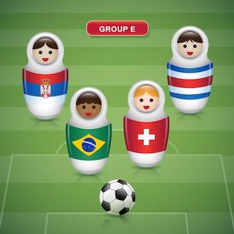 Groupes e de la coupe de football 2018