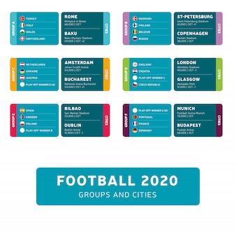 Groupes et match de tournoi de football