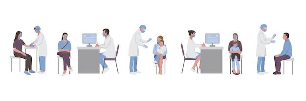 Des groupes de médecins et de patients fixent un rendez-vous avec des médecins pour effectuer des analyses de sang et une pcr