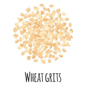Gruau de blé pour la conception, l'étiquette et l'emballage du marché des agriculteurs modèles. super aliment biologique à protéines énergétiques naturelles. illustration isolée de dessin animé de vecteur.