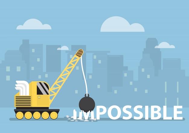 Grue avec boule de démolition rendant l'impossible possible