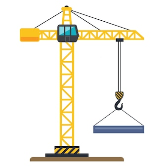 Grue de construction jaune soulève une illustration de la charge